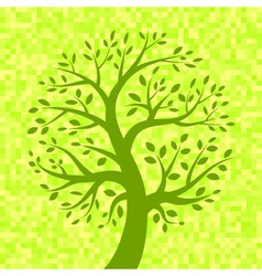 Green tree icon on light pixel background vector