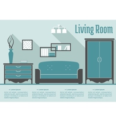 Retro flat living room interior vector