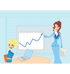 Three woman conducting a business meeting or vector