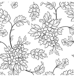 Black outline flower seamless vector
