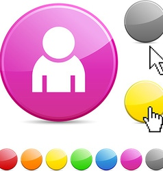 Person glossy button vector