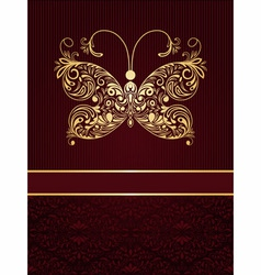Greeting card with golden butterfly vector