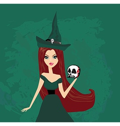 Halloween witch standing with skull vector