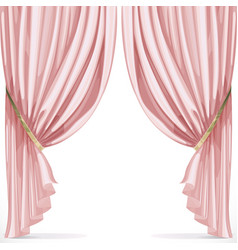 Pink curtain collected in folds ribbon isolated on vector