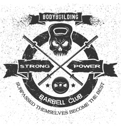 Bodybuilding emblem in vintage style vector