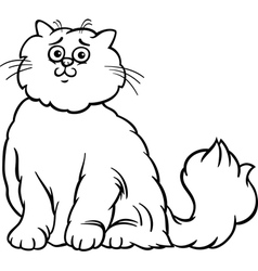 Persian cat cartoon coloring page vector