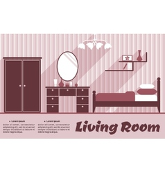 Living room flat interior vector