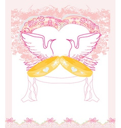 Romantic card with love birds and golden wedding vector