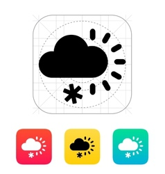 Cloudy with snow weather icon vector