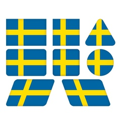 Buttons with flag of sweden vector