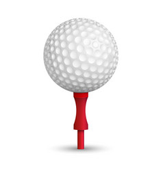 Golf ball on red stand vector