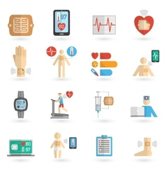 Wearable smart patch flat icons vector