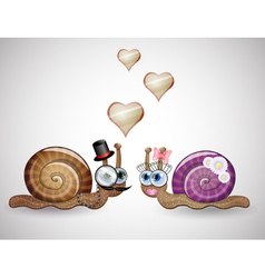 Isolated funny female and male snails vector