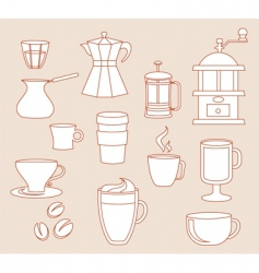 Coffee linear design elements vector
