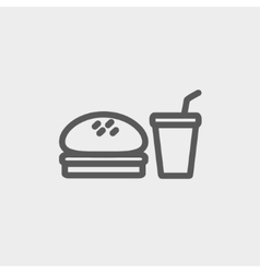 Fast food meal thin line icon vector