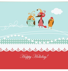 Cartoon birds on a greeting card vector