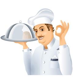 Chef tray dish vector