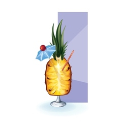 Cocktail decor styled exotic fruit vector
