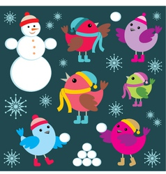 Set of winter birds and snow man vector
