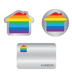 Home icon on the rainbow flag vector