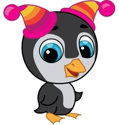 Cute penguin in two hats vector