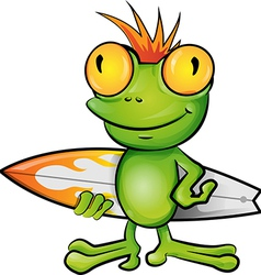 Frog cartoon surfer vector