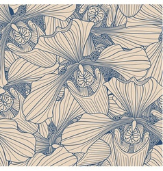 Beige and blue orchid flower seamless pattern vector