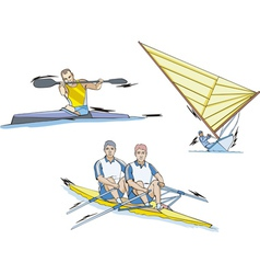 Water sports whitewater slalom rowing and sailing vector
