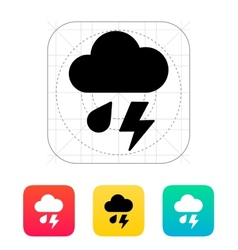 Rain with lightning weather icon vector
