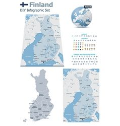 Finland maps with markers vector