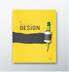 Annual report paper roll ripped pencil design vector