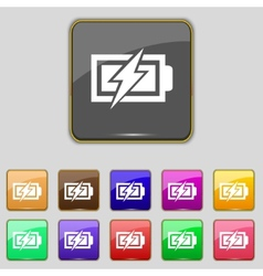 Battery charging sign icon lightning symbol set of vector