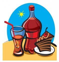 Cola and cake vector