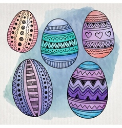 Watercolor ornamental easter eggs set vector