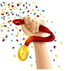 Hand holding winners medal award vector