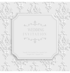 3d vintage invitation card with floral vector