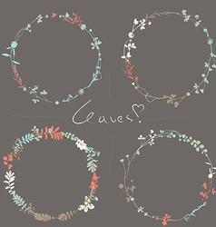 Four floral wreaths vector