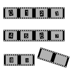 Grayscale film and movie with numbers symbols vector