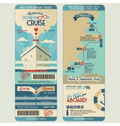 Honeymoon cruise boarding pass vector