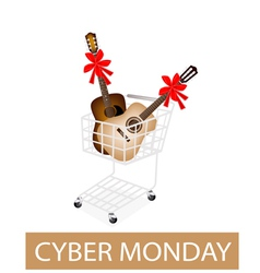 Guitar with red ribbon in cyber monday shopping vector