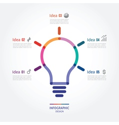 Color bulb with five options vector