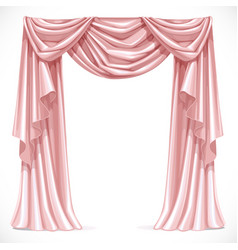 Pink curtain draped with pelmet isolated on a vector