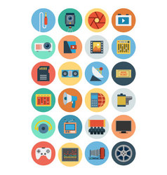 Multimedia flat icons 6 vector