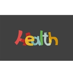 Health word drawn lettering typographic element vector