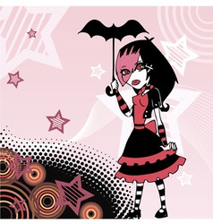 Colored cartoon emo goth girl with umbrella vector