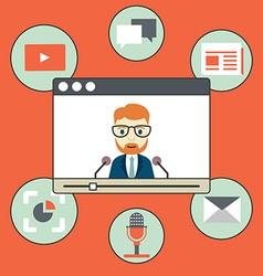 Webinar - kind of web conferencing holding online vector