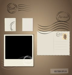 Blank grunge post stamps postcard and photo frame vector