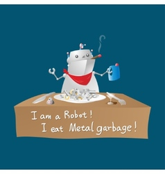 Robot eating metal garbage vector