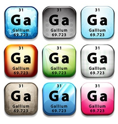A button showing the chemical element gallium vector