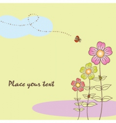 Springtime flora card with ladybird vector